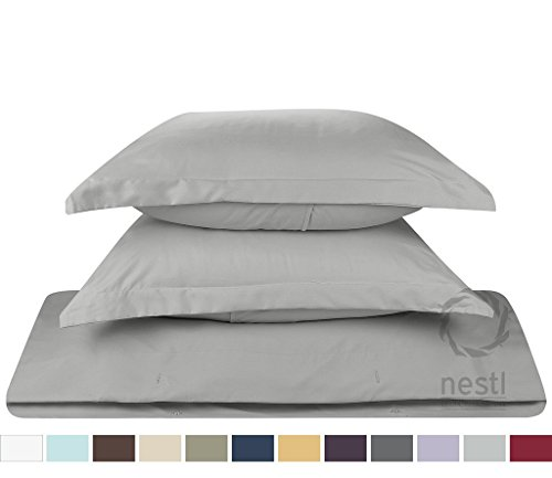 whitecottonworld Euro Square 2-Piece Pillow Shams Silver Grey Solid 400 Thread Count 100% Egyptian Cotton Set of Two Euro (24 x 24 Inches) Pillow shams, Gorgeous Decorative Bed Pillow cover/Cases by whitecottonworld