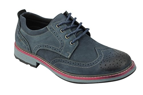 Herren neue schwarz blau Tan Faux Wildleder Leder Lace Up Wing Tip Brogue Smart Casual Derby Schuhe Blau