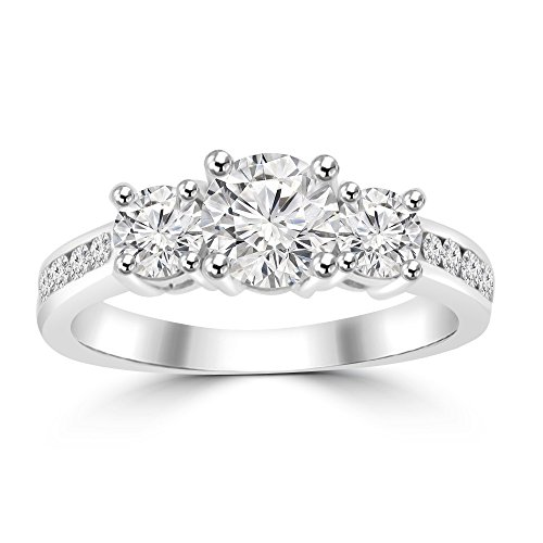 1.97 ct Ladies Three Stone Round Cut Diamond Engagement Ring G Color SI-1 Clarity in Platinum In Size 10.5 -