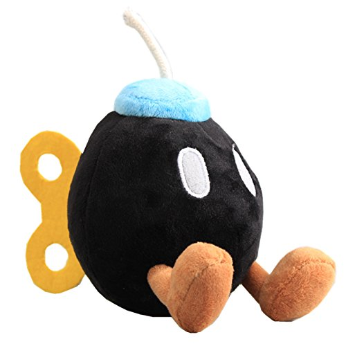 uiuoutoy Super Mario Bros. Black Bob-omb Plush 5'' ()