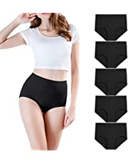 wirarpa Women's High Waisted Cotton Underwear Stretch Briefs Soft Full Coverage Panties Multipack (Regular& Plus Size)