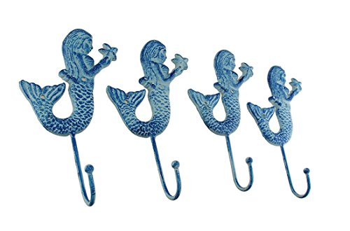(Zeckos Set of 4 Rustic Blue Mermaids Cast Iron Wall Hooks)