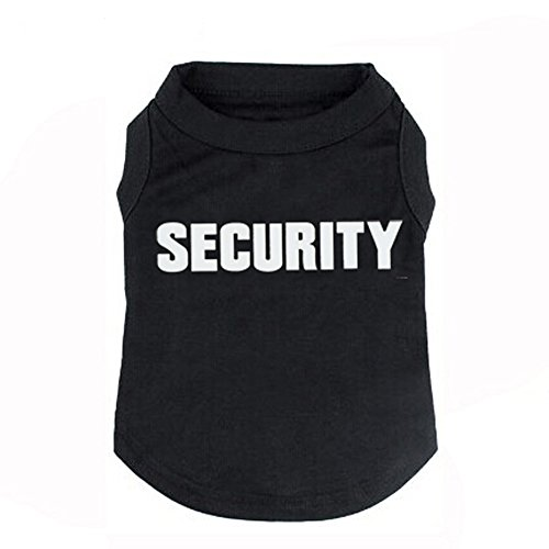 Fashion Shop Pet Coat SECURITY Letters Cotton Dog Waistcoat Puppy T-shirt Black/Bue/Pink/Red for Choice (Black, XXL (Back 18