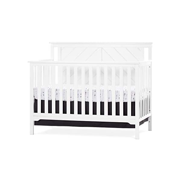 Forever Eclectic Hampton Flat-Top 4-in-1 Convertible Baby Crib, Flat Top, Matte White