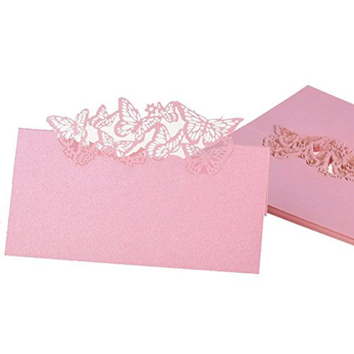 Butterfly Folding Tables (NUOLUX Table Name Place Cards Favor Decor Butterfly Laser Cut Design (Pink) 50pcs)