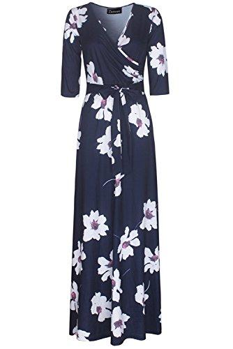 yisqzjzj Seasonal Women's 3/4 Sleeve Faux Wrap Long Maxi Dress with Belt NavyLarge (70s Womens Hairstyles)