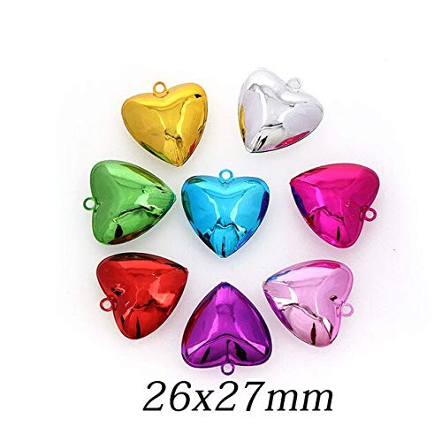 Triangle-Box - 10PCS Colorful Metal Heart Jingle Bells Loose Beads Festival Party Decoration/Christmas Tree Decorations/DIY Crafts Accessories