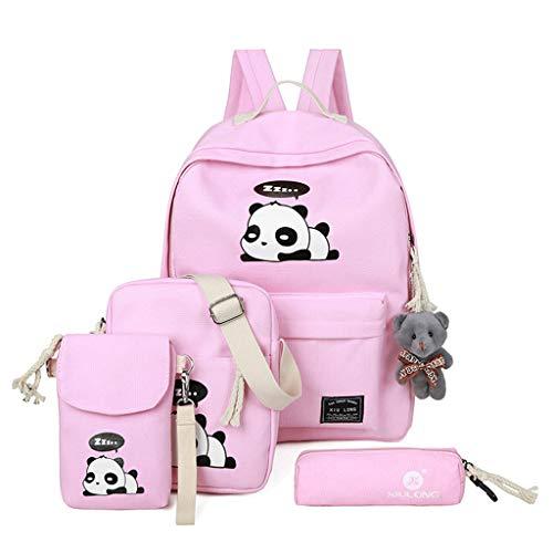 Pink Schoolbags Tebatu Travel Women Cute Print Panda for Pink Shoulder Bag Rucksack Backpack 4pcs wqa7aTrxF6