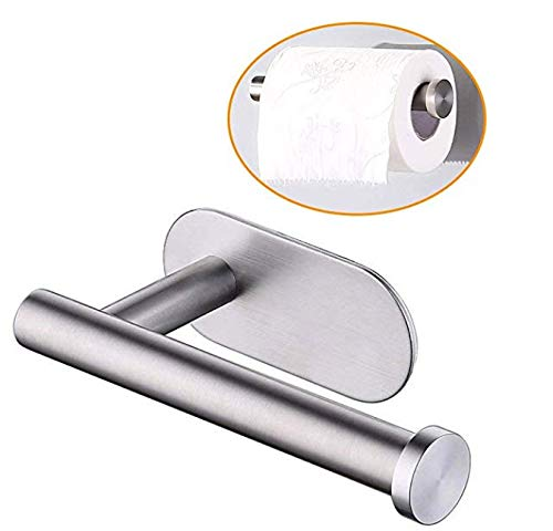 KMEIVOL Self Adhesive Toilet Paper Holder, Portable Brushed Nickel Toilet Paper Holder, Wall Mounted Toilet Paper Holder with Rustproof Stainless Steel Brushed