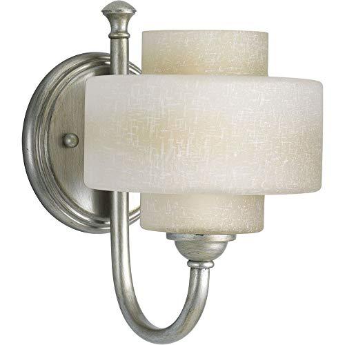 Progress Lighting P2885-134WB Ashbury One Light Bath Vanity, Silver Ridge Finish with White Linen Glass