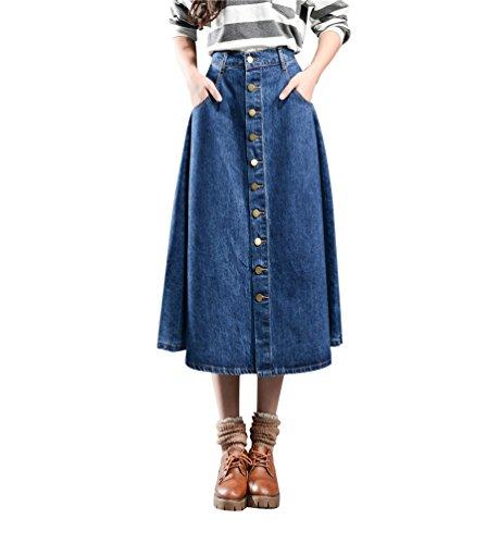 Jupe YiLianDa Rtro Mi Femme vase lgante Jupe Jupe Plisse Bleu Poches Longue Avec Jean wv1qvgS