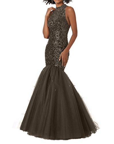 Abschlussballkleider Promkleider Perlen mit Langes Charmant Braun Abendkleider Meerjungfrau Damen Champagner 7OxYPX