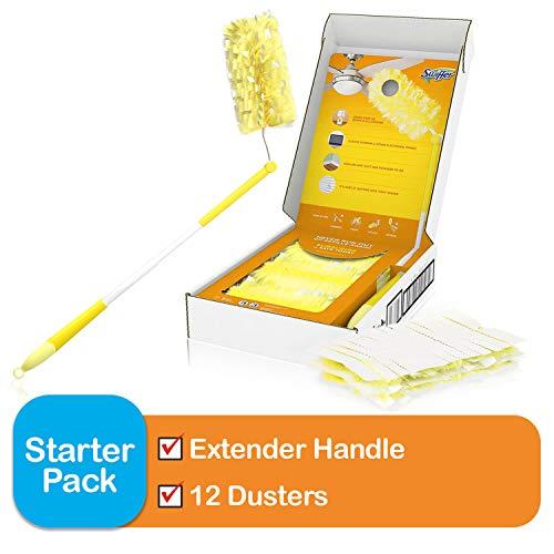 Swiffer Dusters Heavy Duty Extender Handle Starter Kit (1 Handle, 12 Dusters)