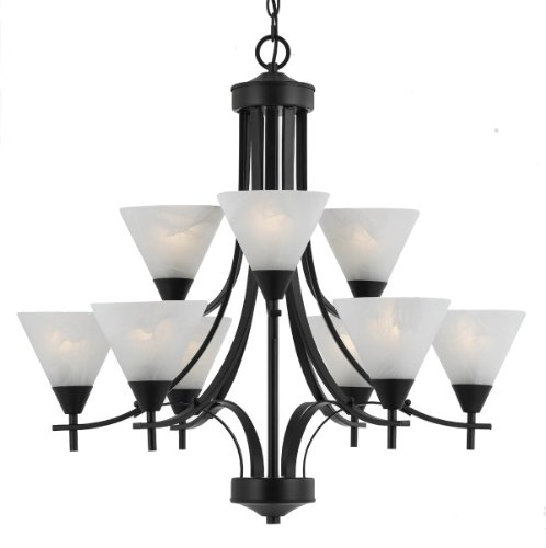 (Triarch International 33314 Value Series 310 9-Light 2-Tier Chandelier with White Swirl Glass Shades, English Bronze Finish, 29
