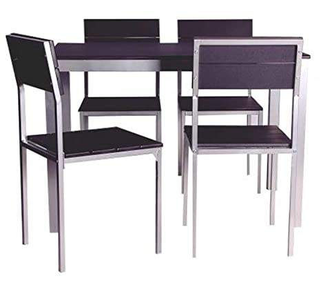 Abitti Conjunto de Mesa + sillas Xobe, para Comedor, Salon o Cocina en  Color Negro y Gris, Tanto para sillas como Mesa, con una Resistente  Estructura ...