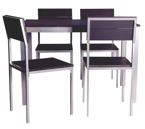 Abitti Conjunto de Mesa + sillas Xobe, para Comedor, Salon o Cocina en Color Negro y Gris, Tanto para sillas como Mesa, con una Resistente Estructura metalica