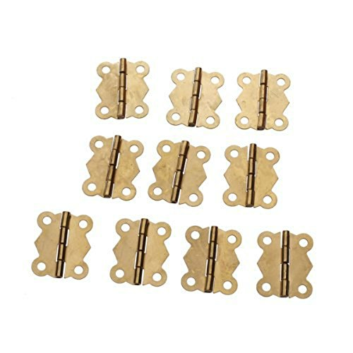 GBSTORE 10Pcs Mini Fashion Design Brass Color Butterfly Hinges Cabinet Drawer Door Butt - Gold Box Hinge