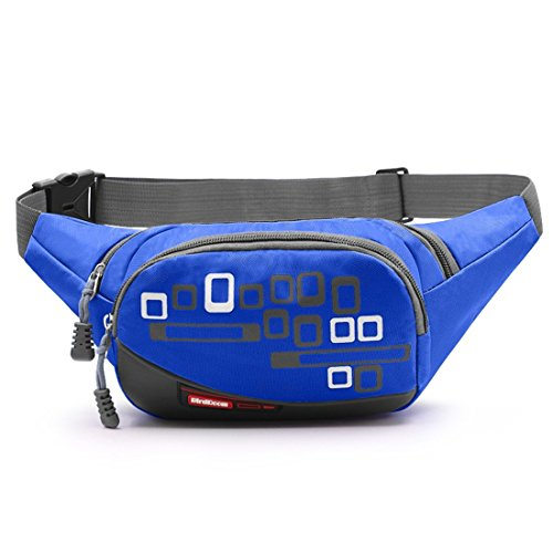 Fashion Outdoor Waist pack Waterproof Hiking Cycling Waist Bag Multi Function Outdoor Travel Running Fanny Pack for Men&Women (Blue) (Travel Waist Pack)