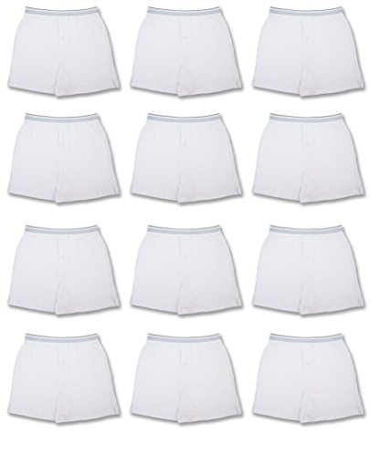Cotton Jersey Boxers - Men's 12 Pack Cotton Boxer Sleep Shorts Super Value Pack (X-LARGE (40-42), 12 Pack - Bright White)