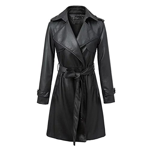 Generic Women's Faux Leather Quilt Belted Coat Trench Jacket WTW0005 (M, black) (Belted Faux Leather)