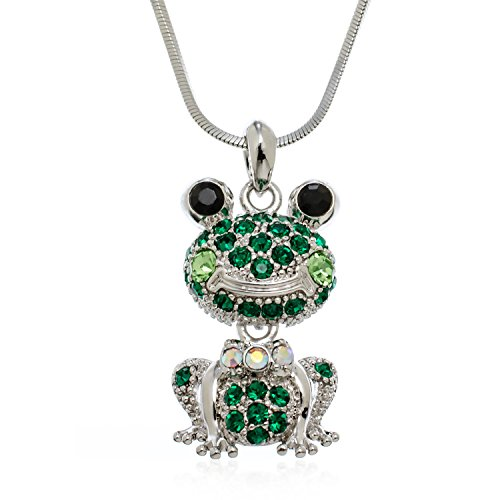PammyJ Green Crystal Squatting Frog Pendant Necklace, (Emerald Frog Pendant)