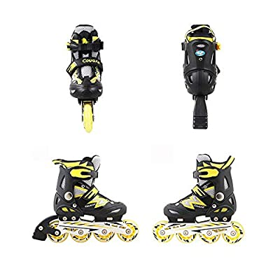 ZMCOV Inline Skate Roller Skate Blades with Adjustable Size and Flashing Light Up Wheel for Kids Boys Girls, Yellow, 38~41 : Sports & Outdoors