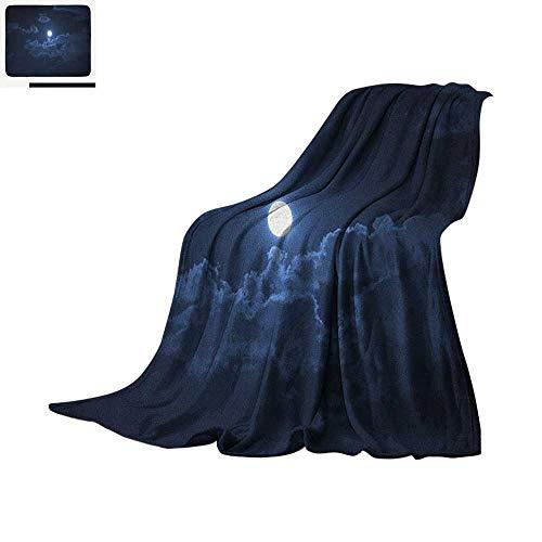 (Night Super Soft Lightweight Blanket Full Moon Appearing Among Dark Clouds Scenic Mysterious Midnight Dusk Foggy Heavens Custom Design Cozy Flannel Blanket 60