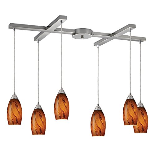 Elk 20001/6BG Galaxy 6-Light Pendant In Brown and Satin Nickel Finish
