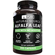 Natural Alfalfa Leaf, 365 Capsules, No Magnesium or Rice Filler, Made in The US, Gluten-Free, 1000mg of Pure and Undiluted Alfalfa Leaf per Serving