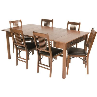 Stakmore Mission Style Expanding Dining Table In Warm Fruitwood Finish