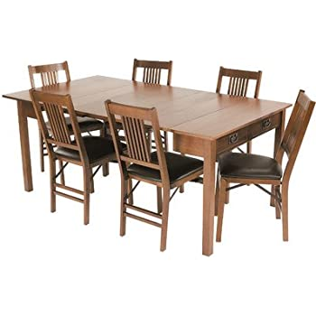 This Item Mission Style Expanding Dining Table In Warm Fruitwood Finish
