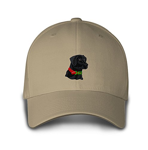 Black Lab Head Dogs Pets Embroidery Adjustable Structured Baseball Hat (Dog Head Embroidery)