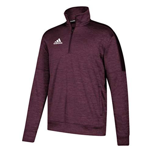 adidas Athletics Team Issue 1/4 Zip Long Sleeve, Maroon Melange/White, Large