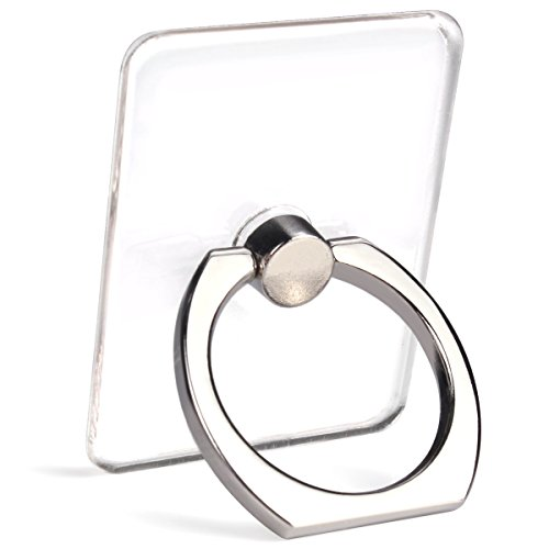 Transparent Cell Phone Ring Holder, 360 Degree Rotation, Finger Grip Stand Holder iphone and ipad tablet Ring Holder (2 Black + 2 Silver)