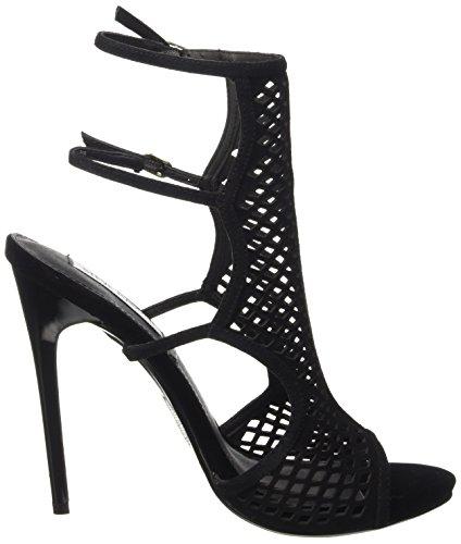 Steve Madden Maylin Suede - zapatos de tacón con punta abierta Mujer Negro - Negro