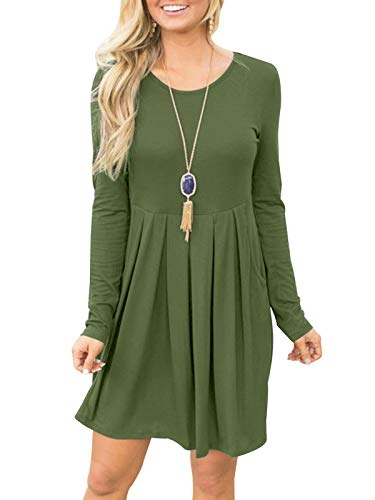 Short Pleated Dress - Fanfly Women Short/Long Sleeve Loose Casual Pleated Swing Dress with Pockets