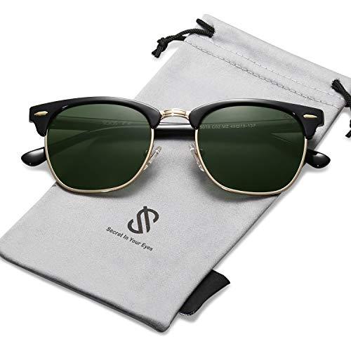 SOJOS Semi Rimless Polarized Sunglasses Half Horn Rimmed Glasses SJ5018 with Black Frame/G15 Polarized Lens (Vintage-clubmaster)