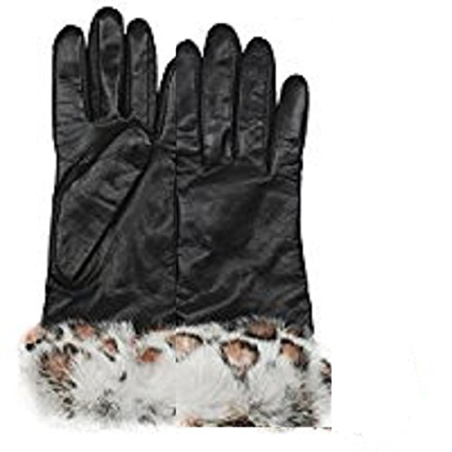 Grandoe Women's NAPLES Sheepskin Butter Soft Leather Gloves Real Rabbit Fur Cuff, Color: Black/Sno Leopard, Size L