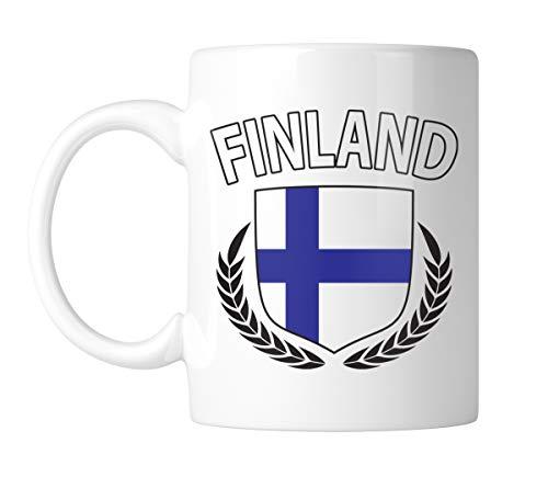 (Amdesco Finland Flag Crest 11 Oz White Coffee Mug (1 Mug))
