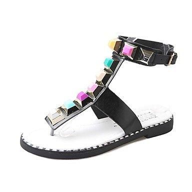 US6 Pu Sandals Light Black Soles Flat Dress Women'S Sequin Casual CN36 UK4 Flat White Heel EU36 RTRY Summer 6Iwp5Hx5q