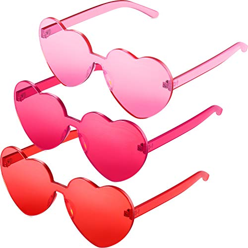 Maxdot 3 Pack Heart Shape Sunglasses Party Sunglasses (Pink Red)