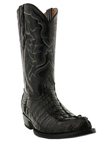 EL PRESIDENTE - Men's Black Genuine Crocodile Skin Cowboy Boots J Toe 8 D(M) US