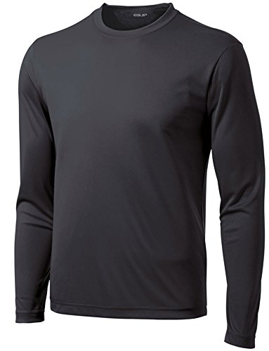 DRI-EQUIP Long Sleeve Moisture Wicking Athletic Shirts in Mens, Iron Grey, X-Large
