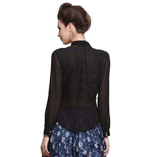 01a1d1cd82161 VOA Women s Silk Sexy Black Lace Long Sleeve Shirt Blouse Top delicate