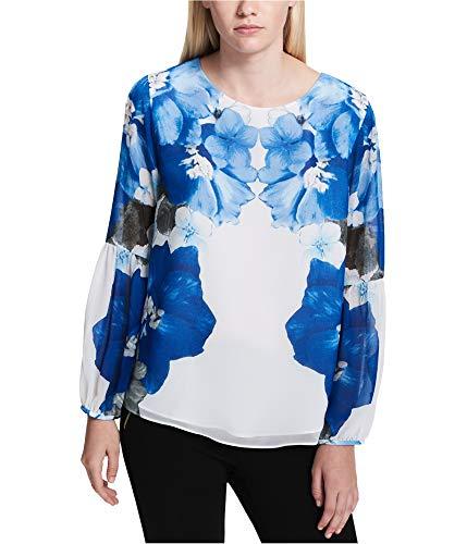 Calvin Klein Women's Printed Peasant Sleeve Blouse White/Celestial Blouse