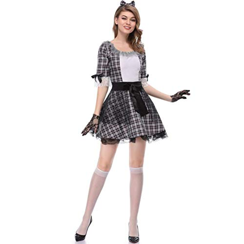 Cosplay Halloween Theme Party Costume Zombie Maid Costume Stage Show Clown Costume, Keep Fxxking to Wristband ()