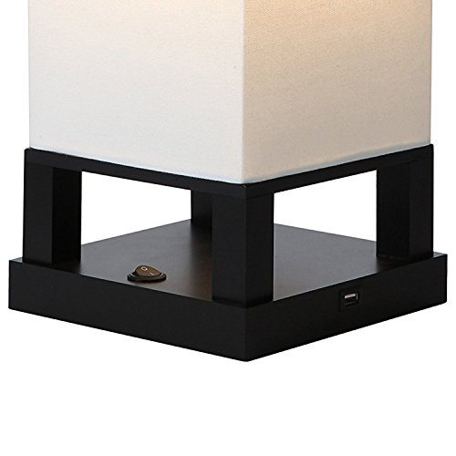 Brightech Maxwell LED USB Side Table & Desk Lamp – Modern Asian Style Lamp with Wood Frame & Soft, Ambient Lighting Perfect for Living Room Bedside Nightstand Light- Energy Efficient - Black - bedroomdesign.us