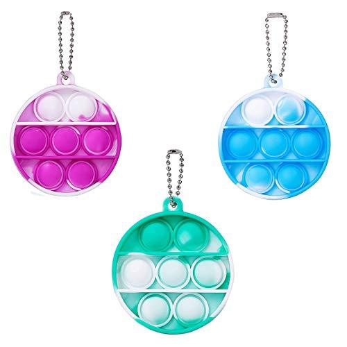 2Pcs(Blue+Green) Mini Push pop Bubble Fidget Sensory Toys,2 pcs Stress Relief Hand Toys Keychain,Simple Dimple Fidget Pack,Figetget Toys for Kids and Adult