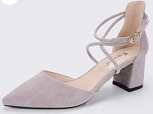 Heels Bandage Taglia With 38 Oudan High Shoes Grigio A Colorato Viola Grigio Black vBSxqEY