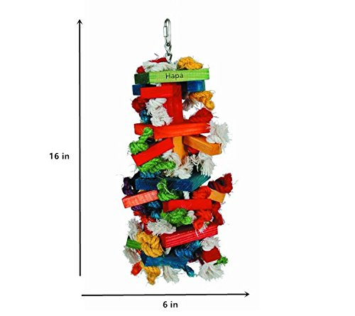 Knots Block Chewing Bird Toys - HapaUS (2018 new) Colorful Environmental Pet Bird Cage Toys For Perfect for Agility training or to Entertain your Parakeet, Finch, Canary or Parrot (Large 16 - Block Bird Foot